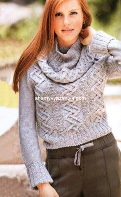 Пуловер с отдельным круговым воротником
