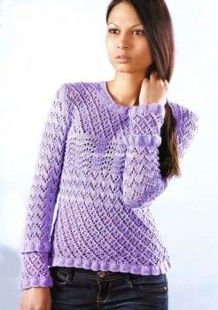 Сиреневый пуловер ажурным узором