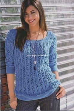Ажурный пуловер из кос