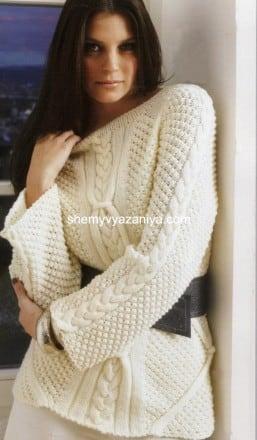 Пуловер с диагональным узором и узором коса