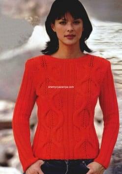 Оранжевый пуловер с полосами из кос