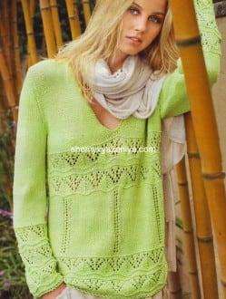 Салатовый пуловер с V-образным вырезом