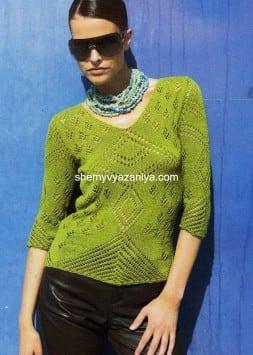 Пуловер с ажурными мотивами