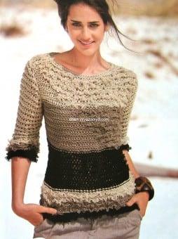 Пуловер с рюшами из ленточной пряжи