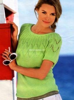 Пуловер с короткими рукавами на круглой кокетке