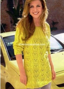 Желтый пуловер на круглой кокетке