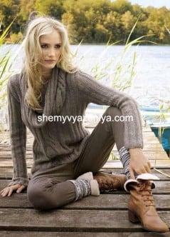 Пуловер с хомутом с полосой из косы