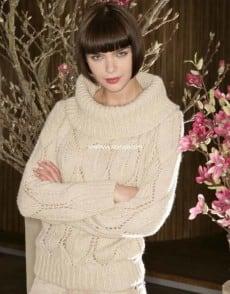 Кашемировый пуловер с ажурным узором из листьев