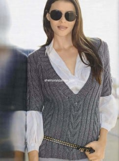 Пуловер с V-образным вырезом и короткими рукавами