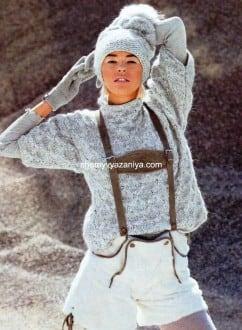 Пуловер и шапочка фантазийным узором