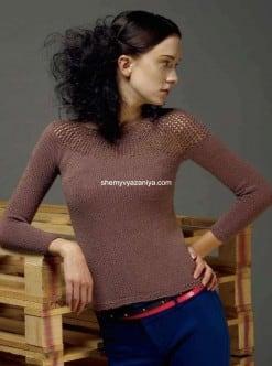 Пуловер с асимметричной сетчатой кокеткой