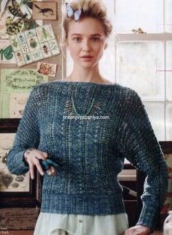 Ажурный пуловер с рукавами доломан