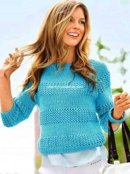 Пуловер чередованием полос