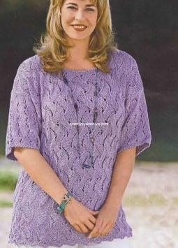 Лиловый ажурный пуловер