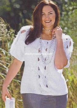 Пуловер с передней планкой из косы