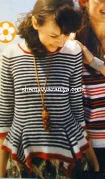 Полосатый пуловер с басками