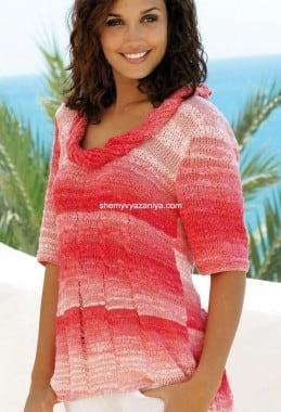 Пуловер со спущенными петлями и узором коса