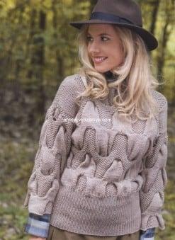 Пуловер с косами цвета верблюжьей шерсти
