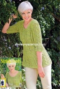 Фисташковый ажурный пуловер