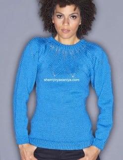 Пуловер реглан с ажурной кокеткой