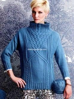 Пуловер с воротником стойка-воронка