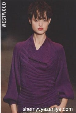 Пуловер поперечной резинкой и полупатентной вязкой
