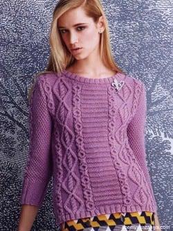 Пуловер с рукавами 3/4 и узором из кос