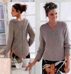 Пуловер с ажурным узором на спинке