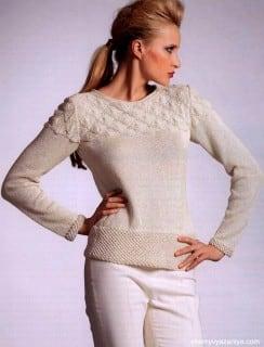 Пуловер с каракулевым и выпуклым узором
