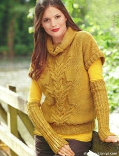 Пуловер с короткими рукавами и митенки