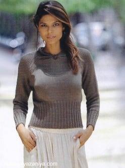 Пуловер с декоративной жемчужиной