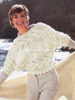 Поперечно-вязаный короткий пуловер