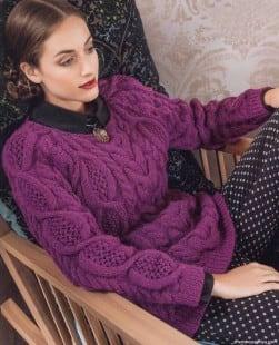 Пуловер-реглан с ажурными косами