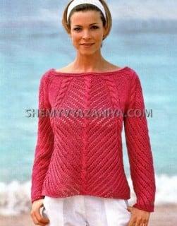 Розовый пуловер ажурным узором с косами