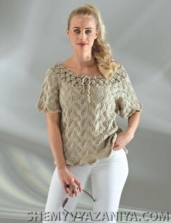 Пуловер с ажурной окантовкой горловины