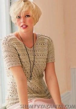 Пуловер сочетанием узоров с короткими рукавами