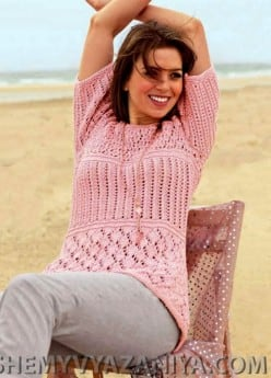 Пуловер ажурным фантазийным узором