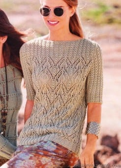 Ажурный пуловер с кокеткой из кос