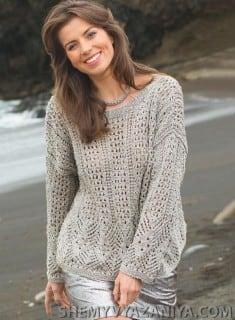 Объемный пуловер ажурным узором