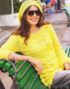 Удлиненный пуловер с ажурной полосой и шапочка бини