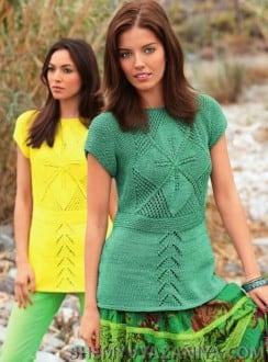Пуловер с квадратными мотивами