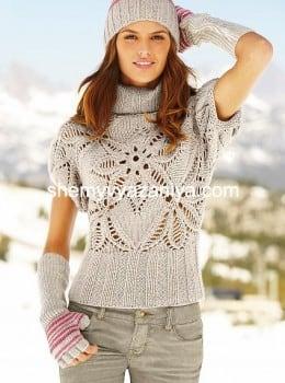 Пуловер с короткими рукавами Пряный цветок