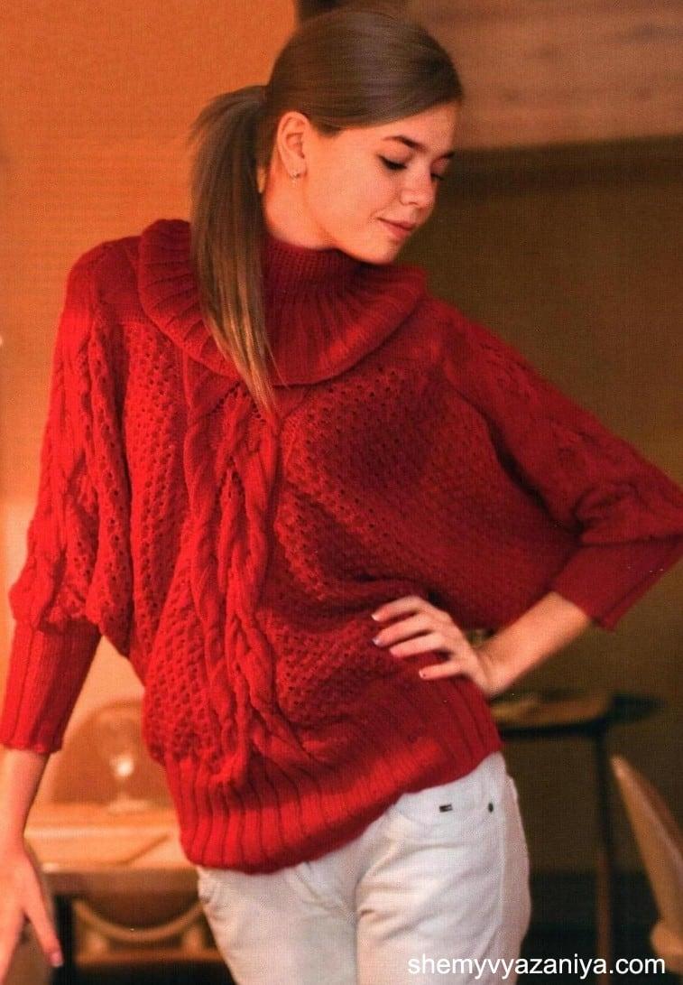 Удлиненный пуловер с рукавом летучая мышь спицами