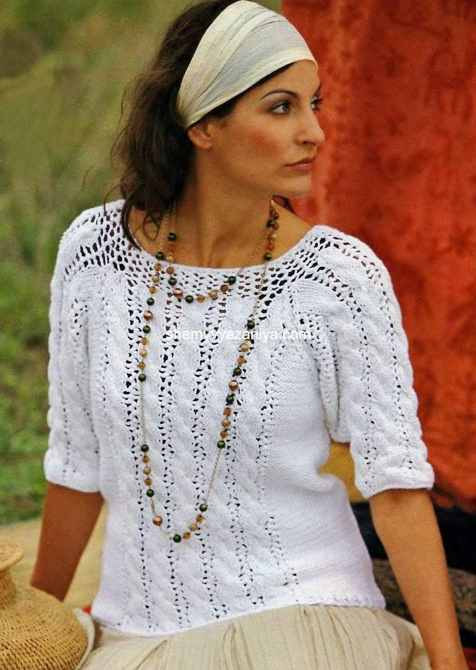 белый пуловер с рукавами реглан схемы вязания