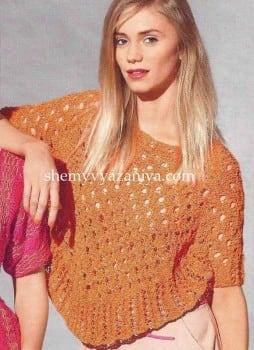 Пончо-пуловер узором из вытянутых петель