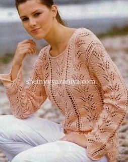 Пуловер с ажурными веточками