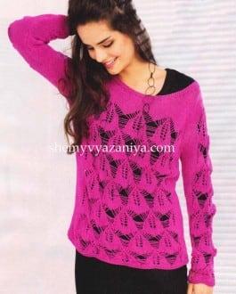 Пуловер с филигранным ажурным узором
