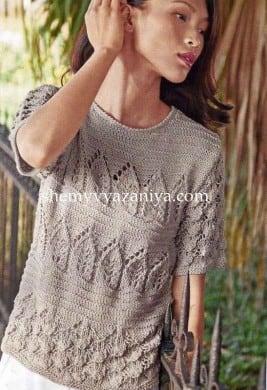 Пуловер с короткими рукавами разнообразными узорами
