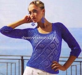 Пуловер узором из ромбов
