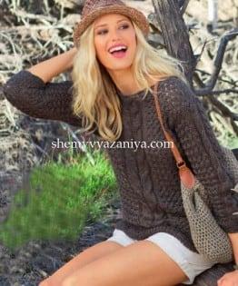 Пуловер плетеным узором и сумка